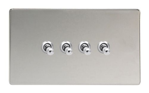 Varilight XDCT9S Screwless Polished Chrome 4 Gang 10A 1 or 2 Way Toggle Light Switch